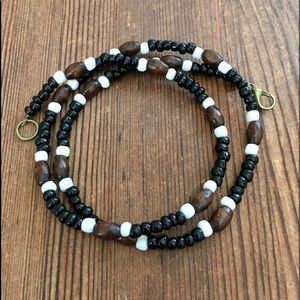Men's Wood and Black Beaded Necklace,  Men's